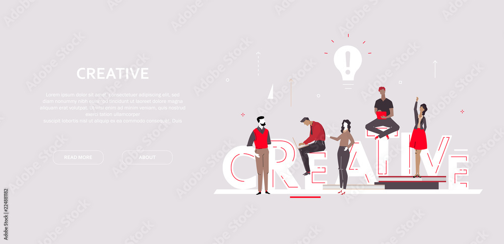 Fototapety, obrazy: Creative group - flat design style colorful banner