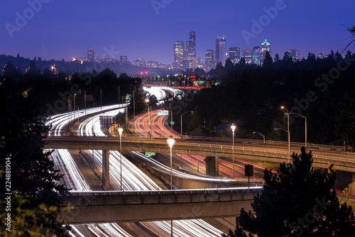 Keuken foto achterwand Verenigde Staten Interstate 5 and downtown skyline at night, Seattle, Washington State, USA