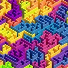 3d Render, Abstract Geometric Background, Colorful Labyrinth, Maze, Logical Solution Concept, Digital Illustration