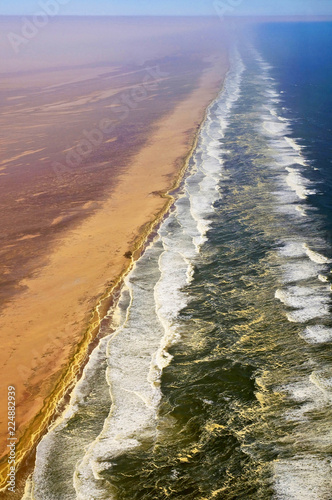 Foto op Canvas Kust Aerial view of the coastal dunes of the Namib desert, Namibia Skeleton Coast.