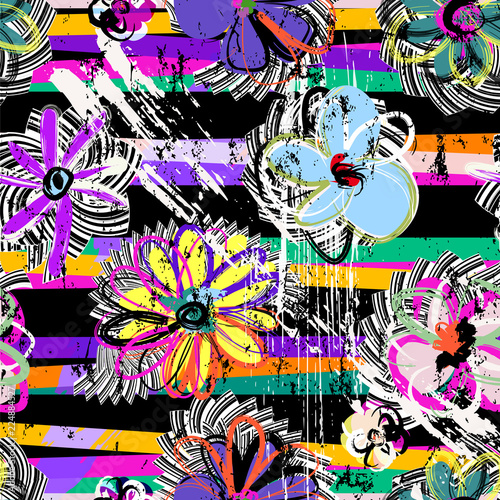 seamless flower pattern background, retro/vintage abstract style, with stripes, strokes and splashes