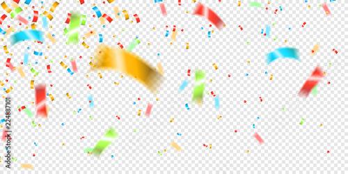 Fotografie, Obraz Konfetti Regen Party gold bunt Hintergrund transparent isoliert