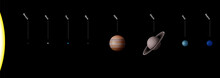 Planetary System With Planets Of Our Solar System - True To Scale - Sun And Eight Planets Mercury, Venus, Earth, Mars, Jupiter, Saturn, Uranus, Neptune - SPANISH LABELING.