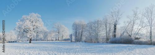 Leinwanddruck Bild - ExQuisine : Winterlandschaft - Panorama