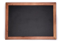 Empty Chalk Board Background. Blank Blackboard With Wooden Frame.