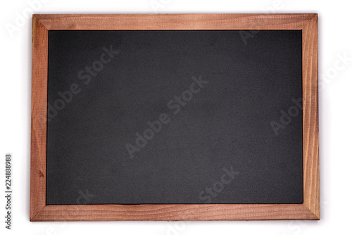 Canvas Print Empty chalk board background. Blank blackboard with wooden frame.