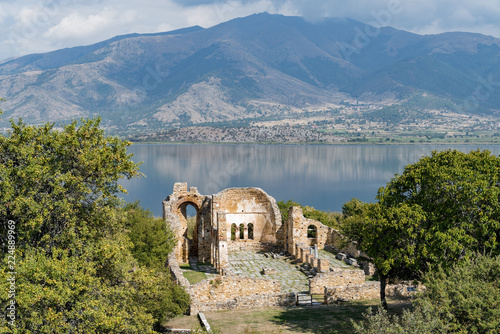In de dag Blauwe jeans Landscape with the ruins of the Basilica of Agios (Saint) Achillios at the Small Prespa Lake in northern Greece