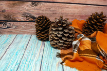 Cute Pine Cone Background. Glittered Large Jeffrey Pine Cones With Orange Plaid Blanket. Concept For Autumn And Fall