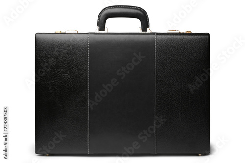 Black leather business briefcase Canvas Print