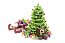 Crochet Christmas Tree And Teddy With Gifts On Sled