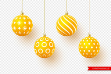 3d Christmas Yellow Balls With...