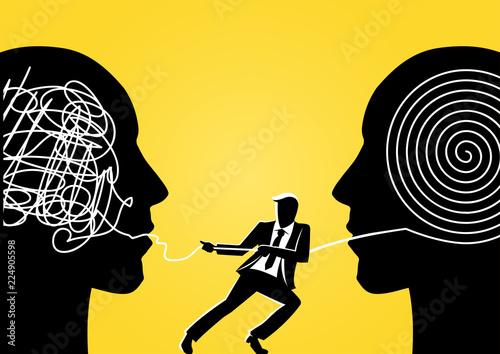 Fototapeta Businessman pulling rope out of big head obraz