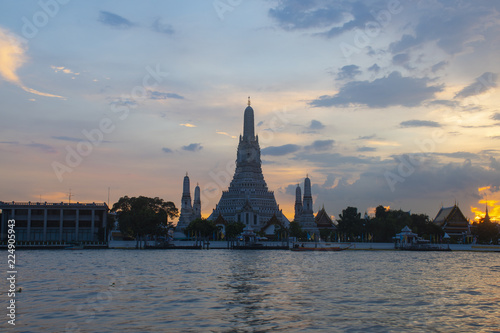 Beautiful Landmark of Bangkok, Thailand. This is Wat Arun temple during sunset.