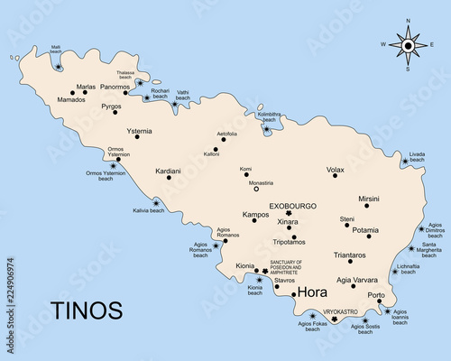 The geography map of Tinos island, in the archipelago of the