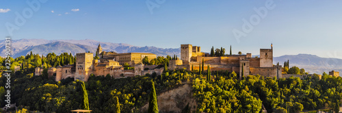 Panoramic view of Alhambra, UNESCO World Heritage Site, and Sierra Nevada mountains, Granada, Andalucia, Spain, Europe
