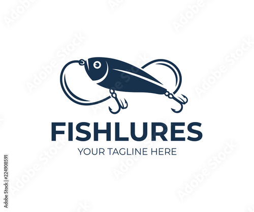 Fishing lures and fish lures, fish, fishing line and hooks, logo design Poster Mural XXL