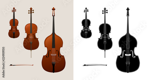 Fotografie, Tablou Violin, cello (violoncello) and double bass