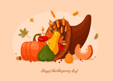 Autumn And Thanksgiving Day Decorations. Thanksgiving Day Table. Сornucopia.