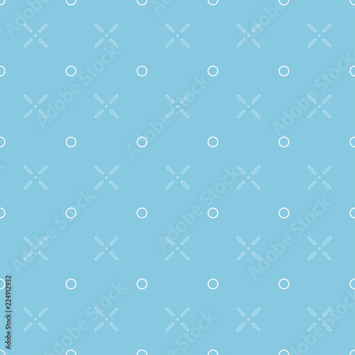Poster Kunstmatig Seamless pattern with lines and circles. Blue background and white shapes on it.