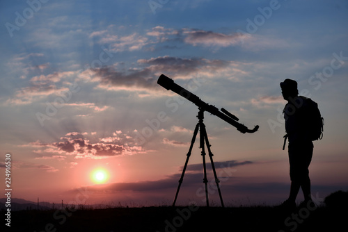 telescope with sky review, research and hobby