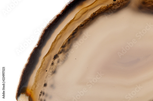 Fotobehang Macrofotografie Macro mineral stone Yellow, brown Agate breed a white background