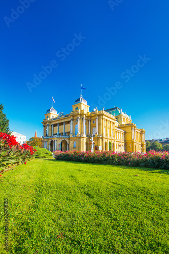 Staande foto Theater Croatian national theater building and flowers in park in Zagreb, Croatia