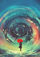 Girl With Red Umbrella Makes A Swirling Water In The Sky, Digital Art Style, Illustration Painting