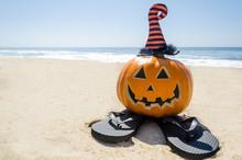 Beach Halloween Background Wit...