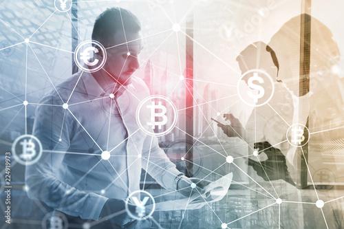 Fototapeta Double exposure Bitcoin and blockchain concept. Digital economy and currency trading. obraz na płótnie