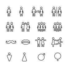 Vector Image Set Of Men And Women Line Icons.