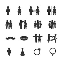 Vector Image Set Of Men And Women Icons.