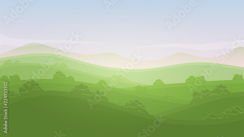 Poster Pool Green landscape summer rural valley nature banner hills template with sky, mountains, bushes and meadows