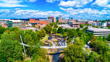 Falls Park And Liberty Bridge Panorama In Greenville, South Carolina, USA