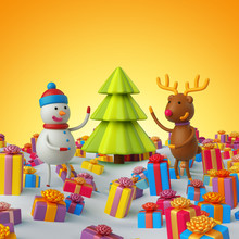 3d Render, Snowman And Reindee...