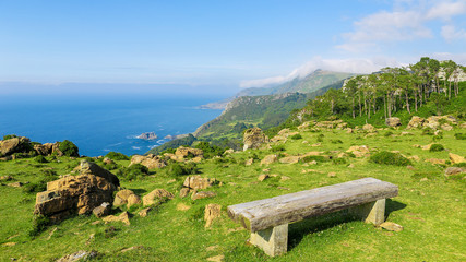 Rias Altas - Wooden Bench in a Green Landscape