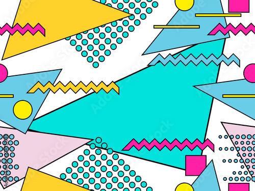 Cuadros en Lienzo Memphis seamless pattern