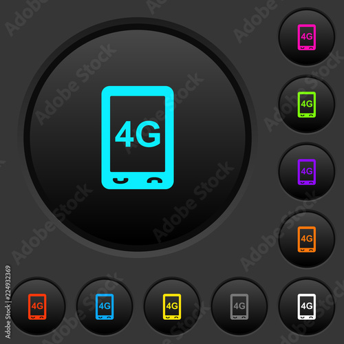 Fotografía  Fourth generation mobile connection speed dark push buttons with color icons