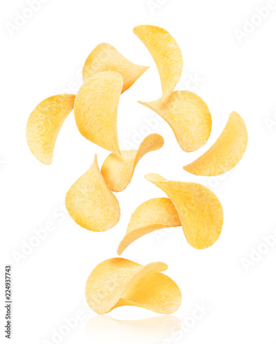 Fotomural Potato chips rise up from the pile with chips, isolated on a white background