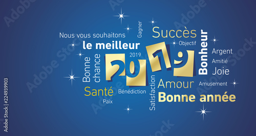 Fototapety, obrazy: Happy New Year 2019 negative space French cloud text gold white blue vector
