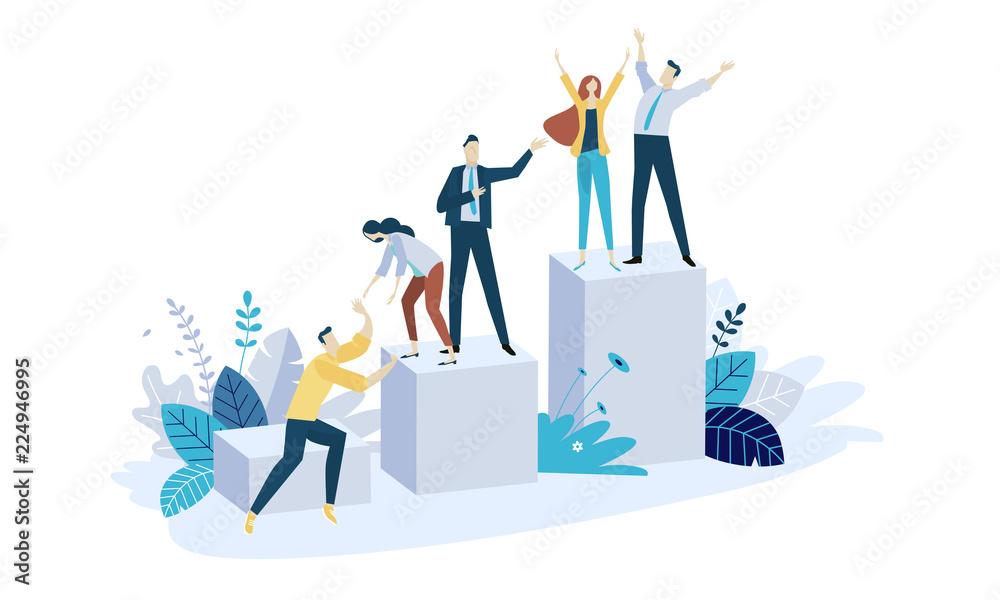 Fototapeta Vector illustration concept of team building. Creative flat design for web banner, marketing material, business presentation, online advertising.