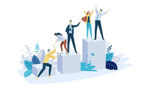 Vector Illustration Concept Of Team Building. Creative Flat Design For Web Banner, Marketing Material, Business Presentation, Online Advertising.