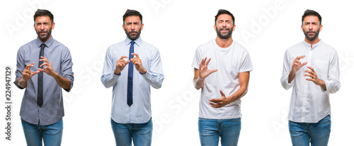 Fotografie, Tablou  Collage of young man wearing casual look over white isolated backgroud disgusted expression, displeased and fearful doing disgust face because aversion reaction