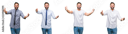 Collage of young man wearing casual look over white isolated backgroud looking at the camera smiling with open arms for hug Wallpaper Mural