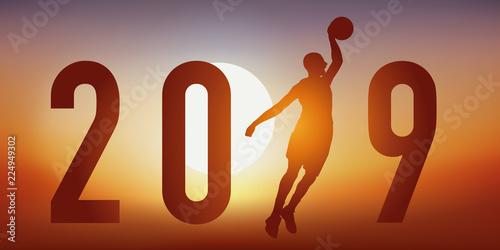 Fototapeta  Carte de vœux 2019 sur le thème du basket, avec un basketteur en pleine action,