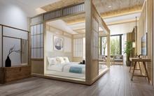 3d Render Japan Style Bedroom