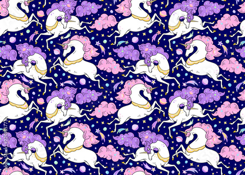 Cuadros en Lienzo Vector seamless pattern with mythical animals