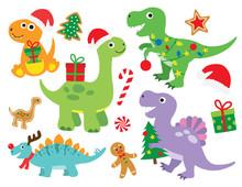 Christmas Dinosaur Vector Illu...