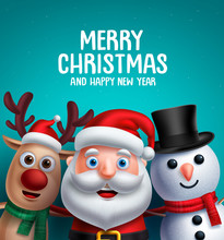 Christmas Characters Vector Illustration And Merry Christmas Greeting. Santa Claus, Reindeer And Snowman Smiling In Blue Background With Space For Text.