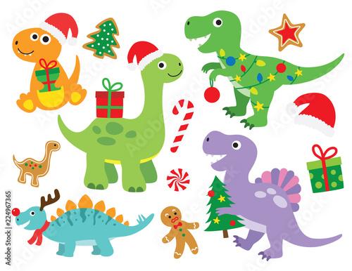 Christmas Dinosaur Vector Illustration Billede på lærred
