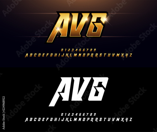Alphabet gold metallic and effect designs  Elegant golden